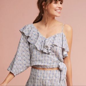 Anthropologie Maeve Ruffled Wrap Top One Shoulder